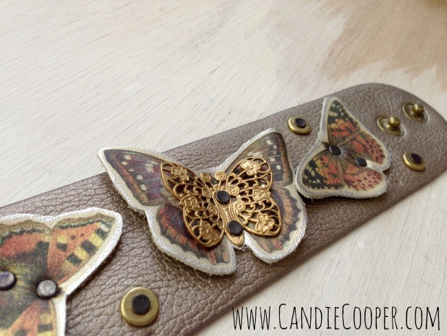Butterfly Leather Cuff Bracelet