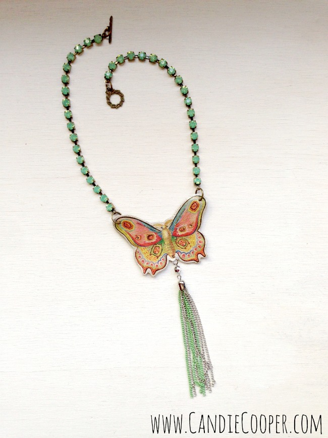 Make a Leather butterfly necklace 9