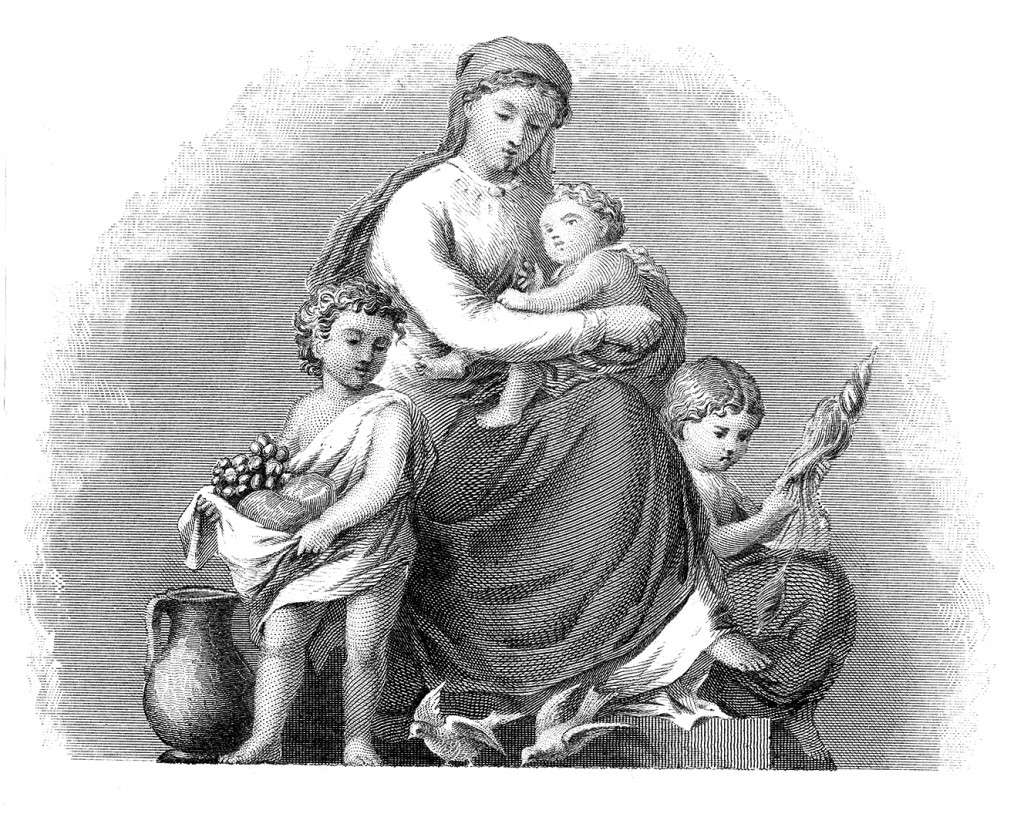 Mother Madonna Engraving