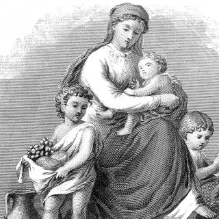 Beautiful Mother Engraving with Children