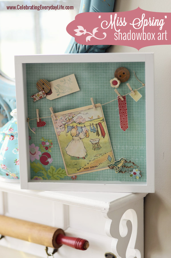 """Miss Spring"" Shadowbox Art, Celebrating Everyday Life with Jennifer Carroll"