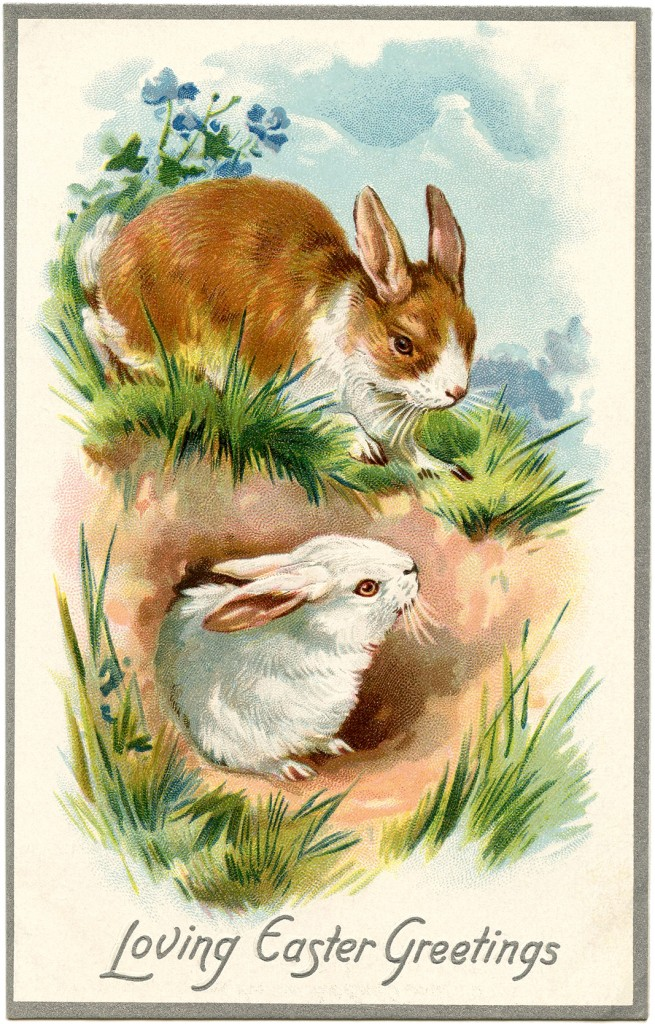 Vintage Easter Bunnies Card