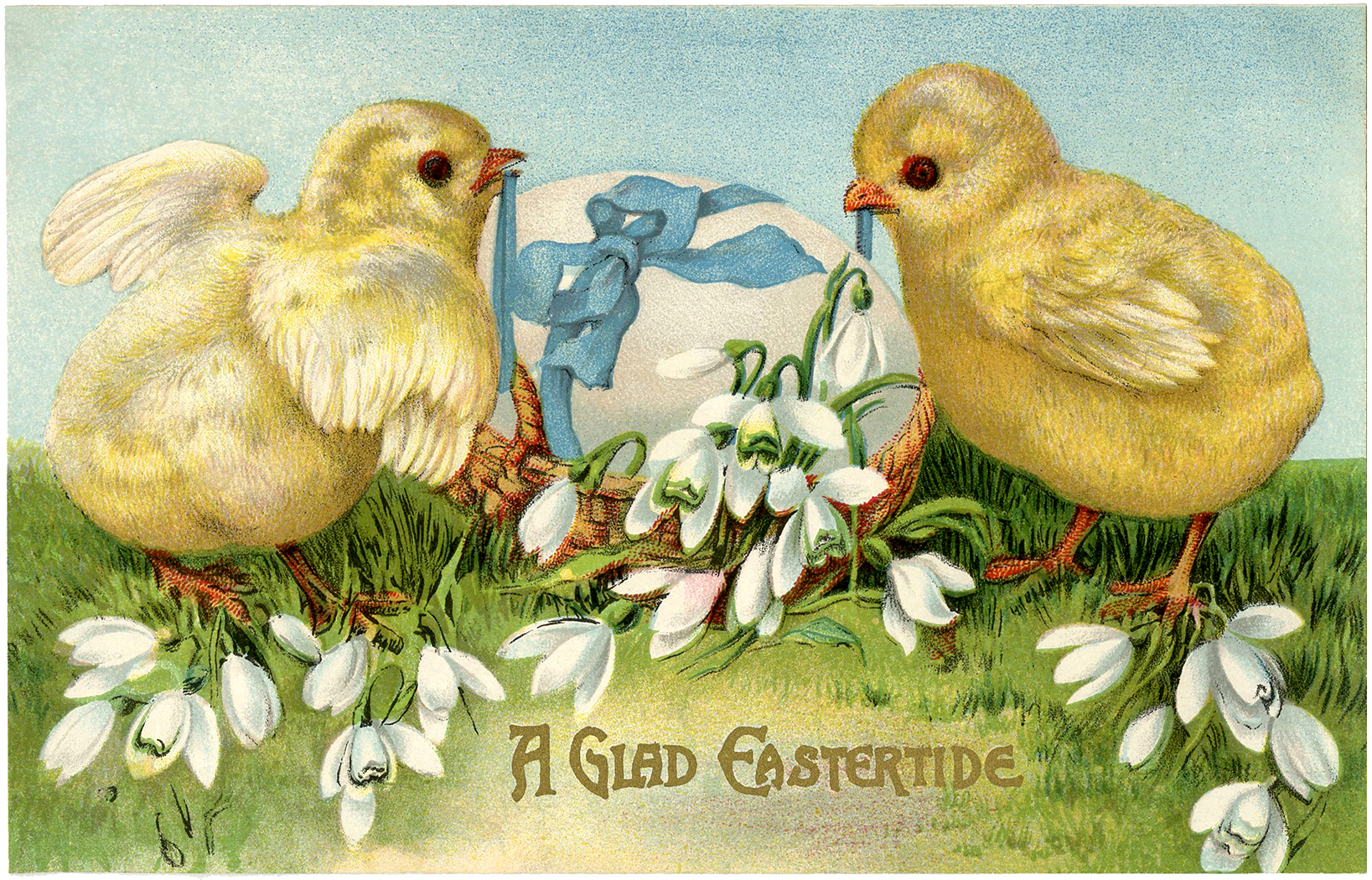 Vintage Easter Card Adorable Peeps The Graphics Fairy