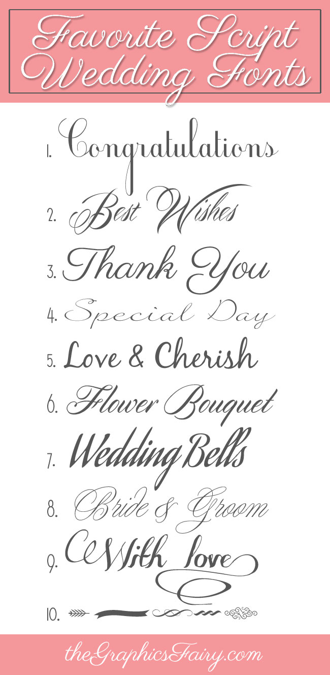 Favorite Script Wedding Fonts The Graphics Fairy