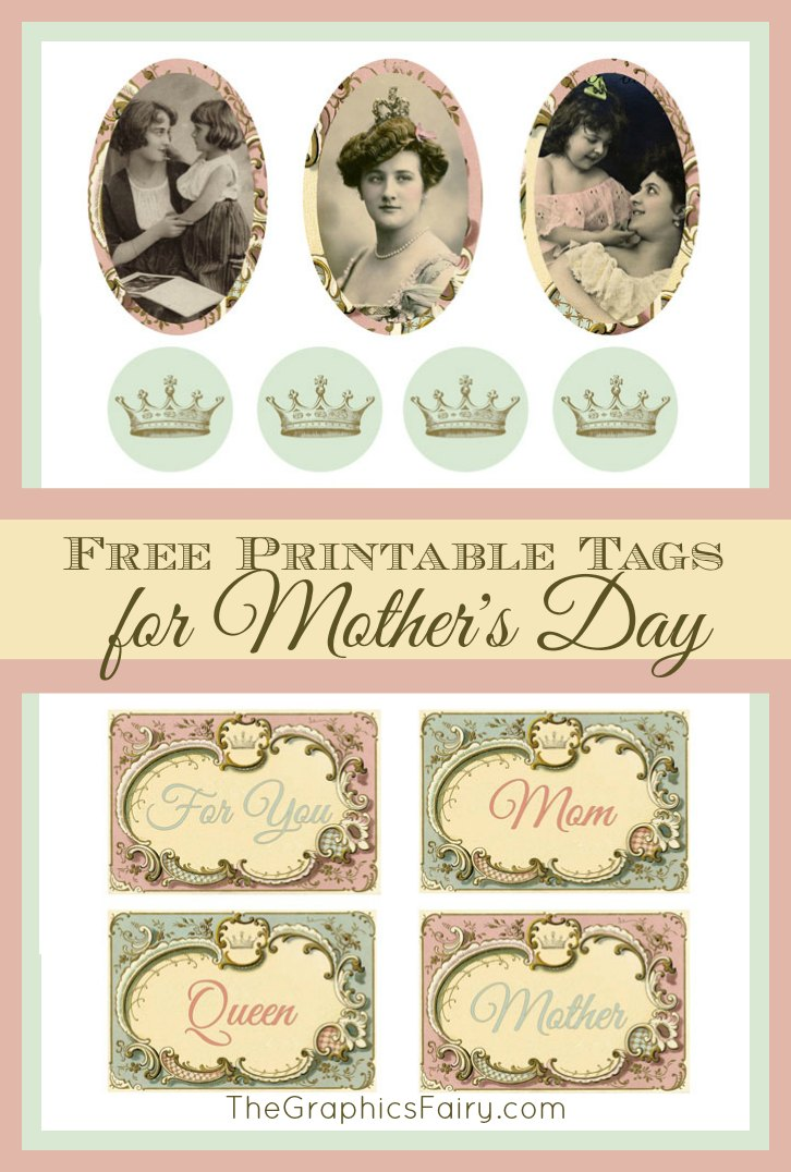 Clip Art Mothers Day Victorian Cats Dogs Flowers