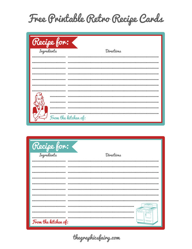Retro Recipe Card Printables // The Graphics Fairy