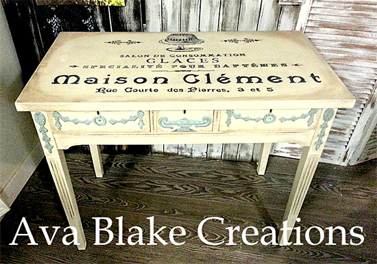 Beautiful Table Painted With French Graphics