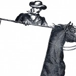 Antique Horse and Rider Label Image