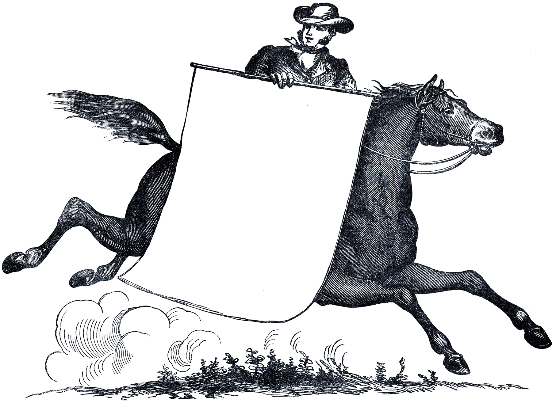 Amusing Antique Horse and Rider Label Image! - The ...