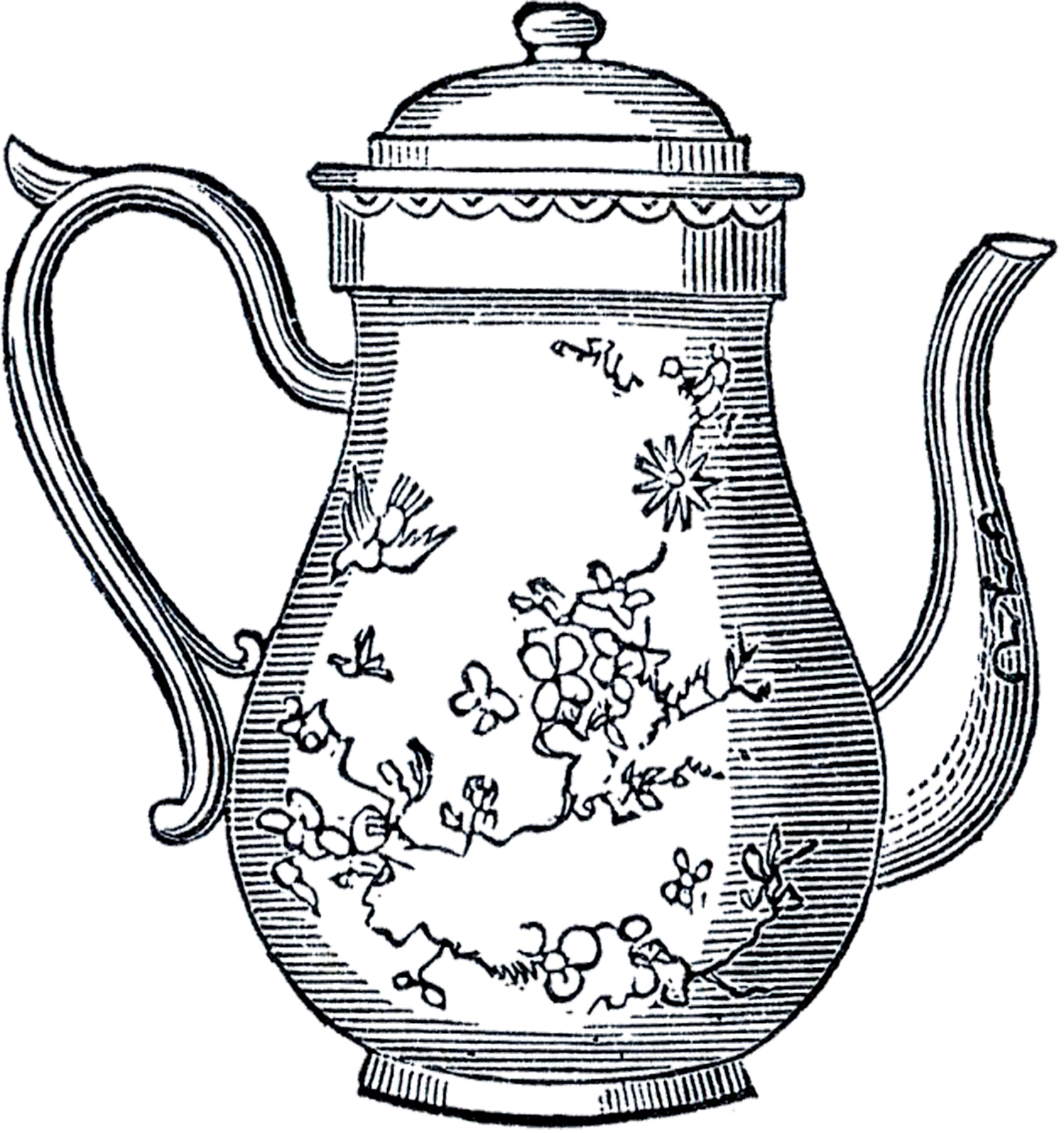 Free Vintage Teapot Clip Art The Graphics Fairy