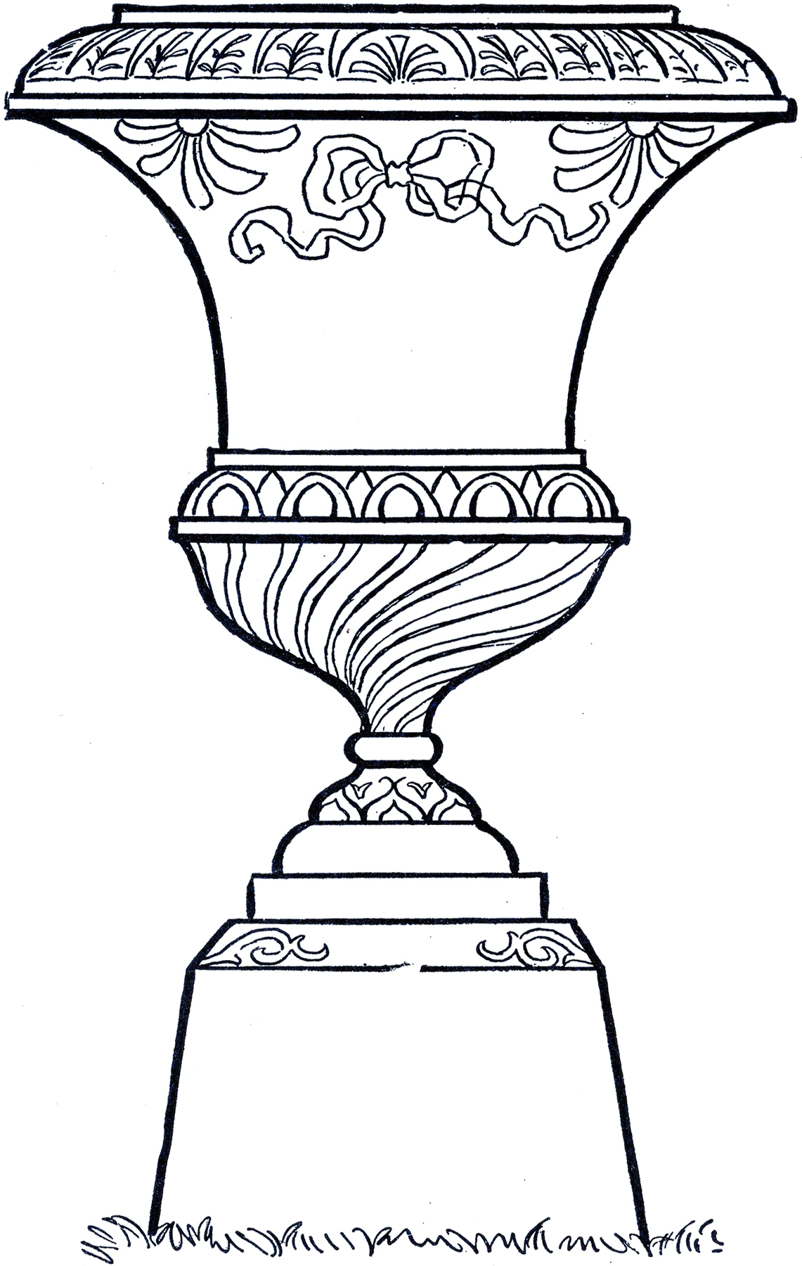 Line Drawing Garden : Vintage line art garden urn the graphics fairy