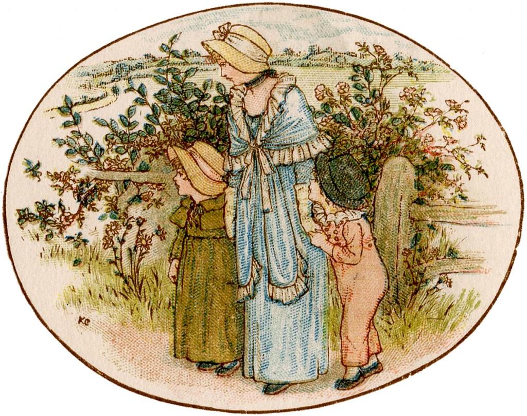 Vintage Mother and Children Garden Image