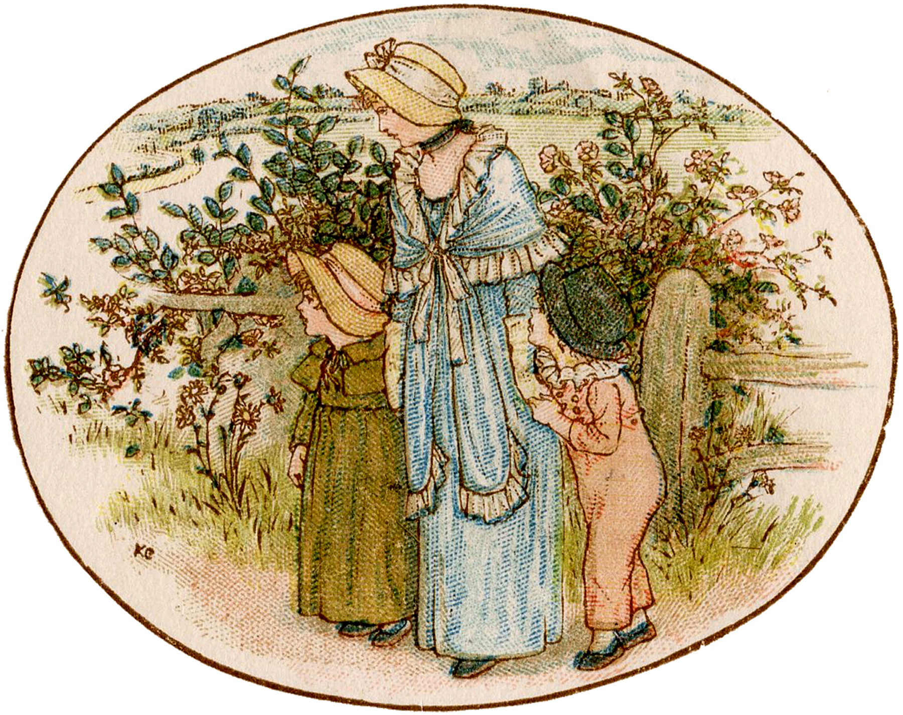 Vintage Mother and Children Garden Image - The Graphics Fairy
