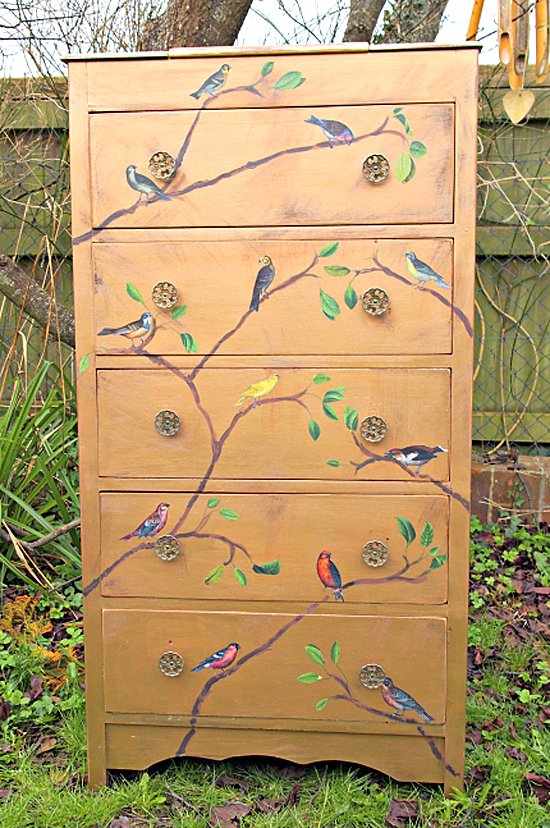 Painted painted tallboy Dresser with Birds