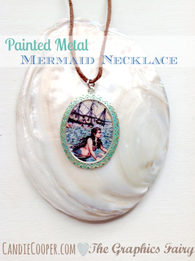 Painted Metal Pendant Tutorial by Candie Cooper on The Graphics Fairy
