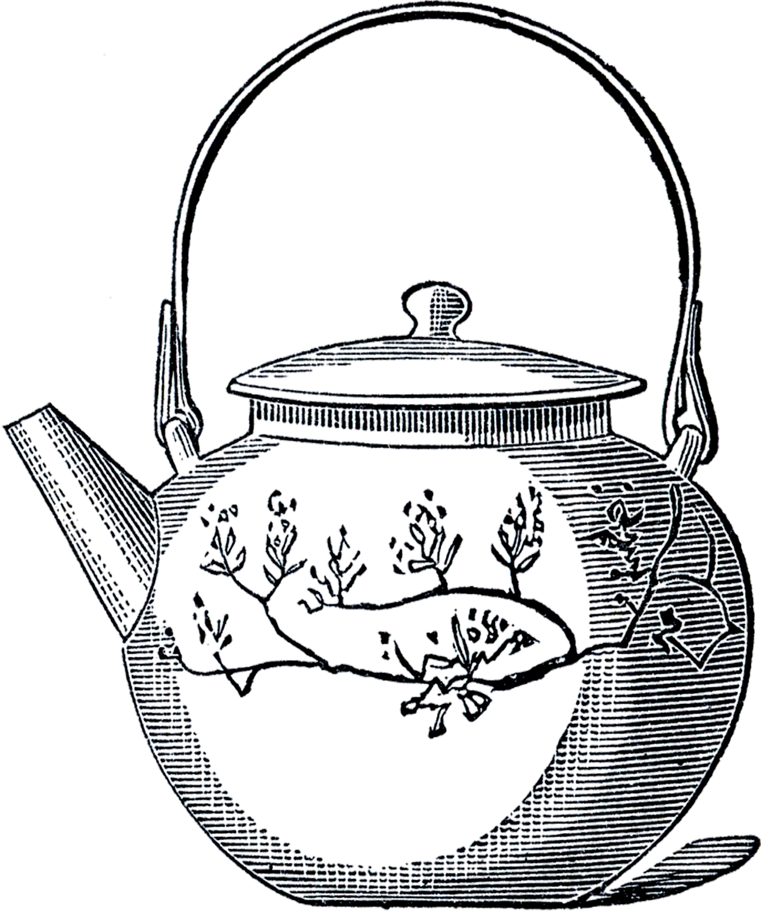 Vintage Asian Teapot Image - The Graphics Fairy