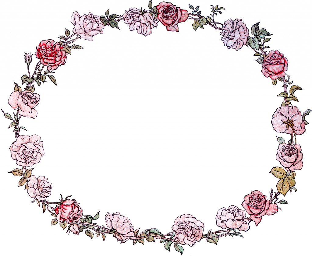 Gorgeous Vintage Roses Wreath Image! - The Graphics Fairy