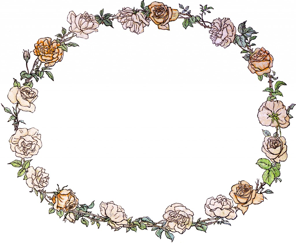 Gorgeous Vintage Roses Wreath Image The Graphics Fairy