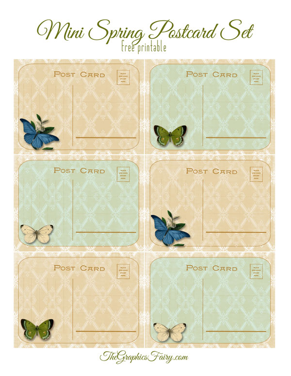 Spring Themed Mini Postcards // The Graphics Fairy