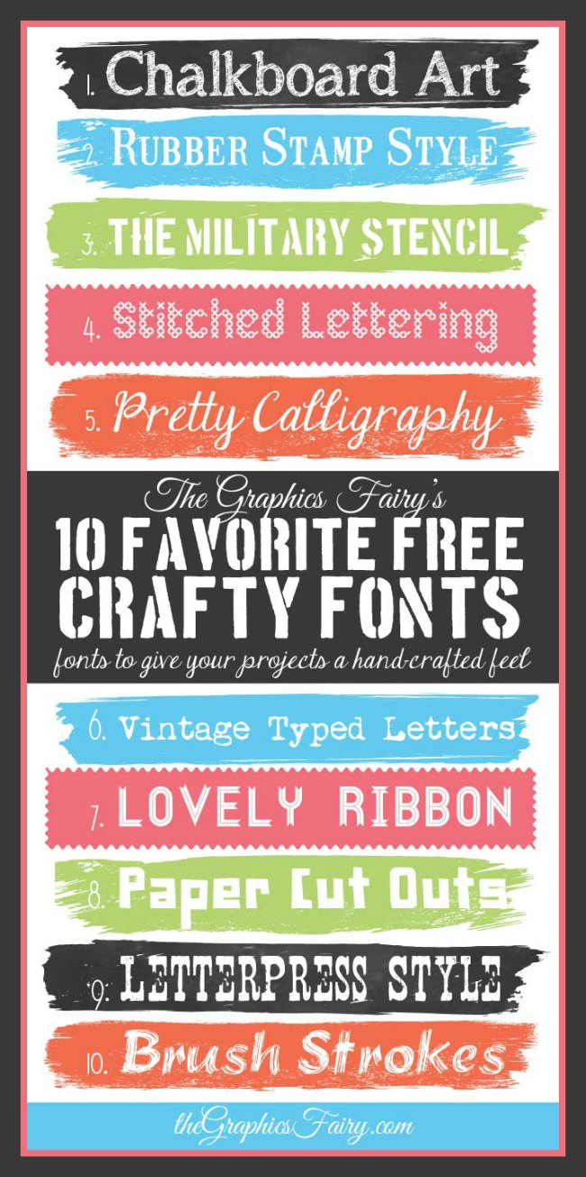 Favorite Free Crafty Fonts // The Graphics Fairy