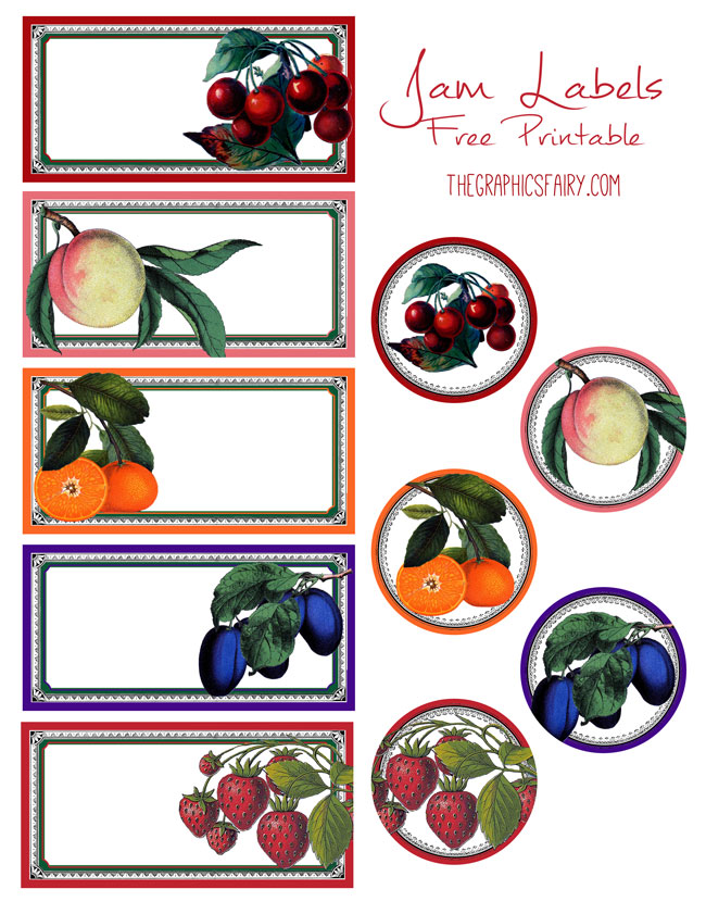 Free printable jam labels the graphics fairy
