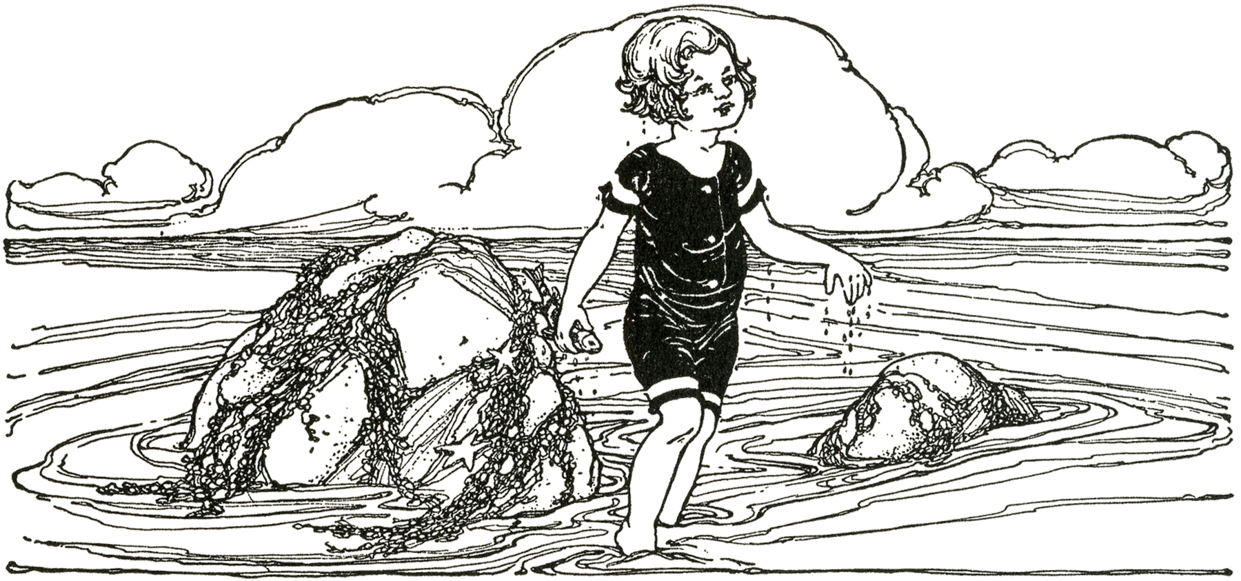 Vintage Beach Child Image