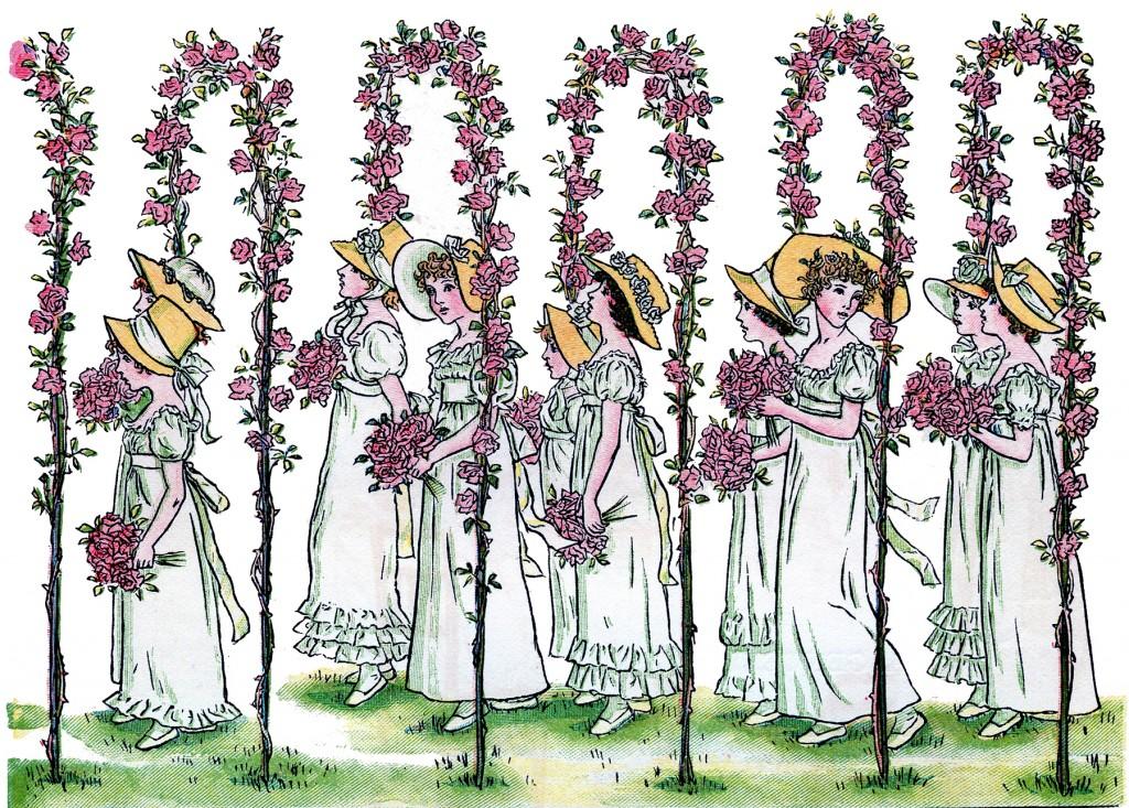 Vintage Image Flower Girls