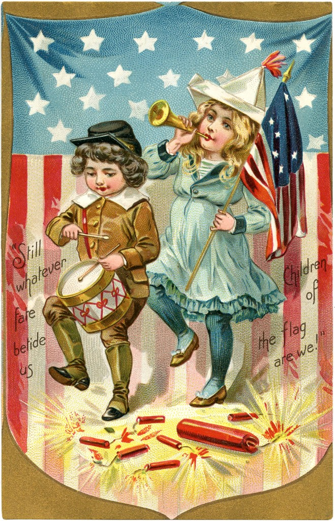 Vintage Patriotic Postcard Children Marching