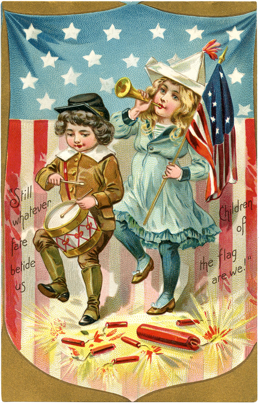 Vintage Patriotic Postcard Image The Graphics Fairy