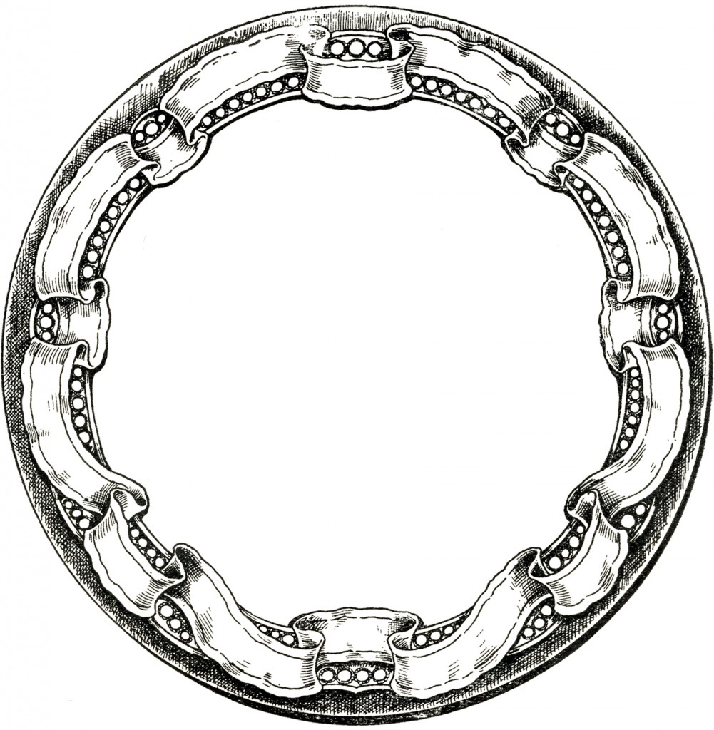 Antique Border: Vintage Round Graphic Frame With Ribbon Border!