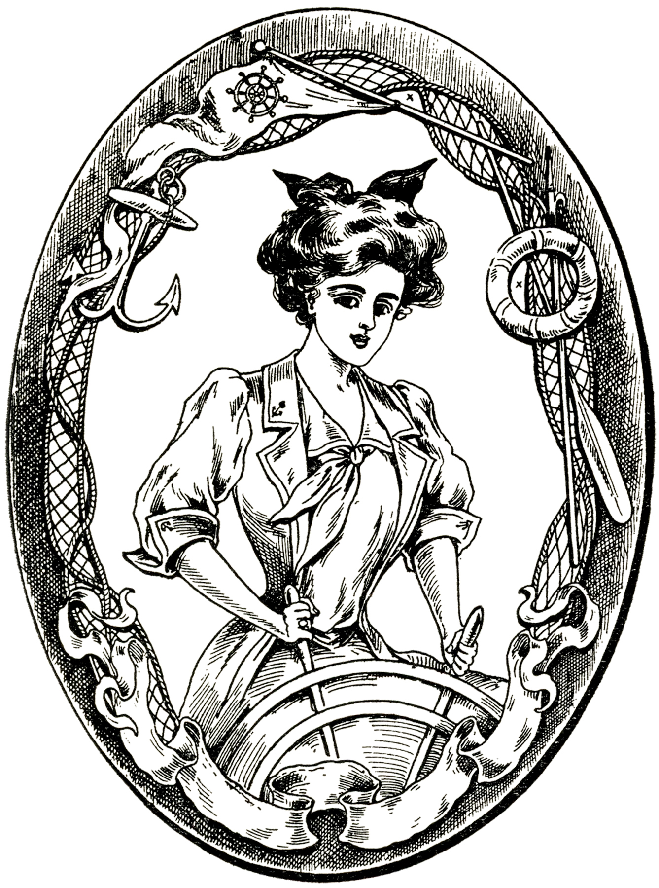 Image result for antique illustration woman sailor