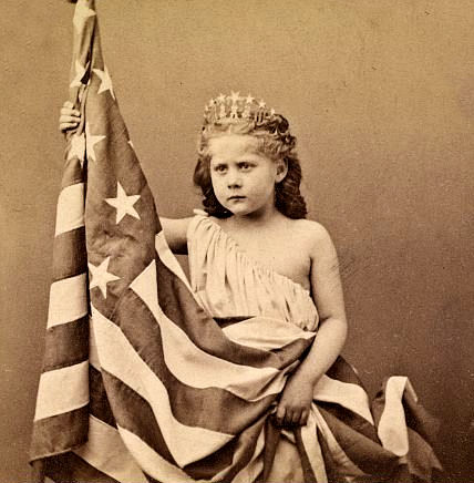 Girl in Patriotic Costume with US Flag