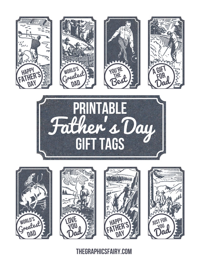 graphic about Free Printable Fathers Day Tags referred to as No cost Printable Fathers Working day Reward Tags! - The Graphics Fairy