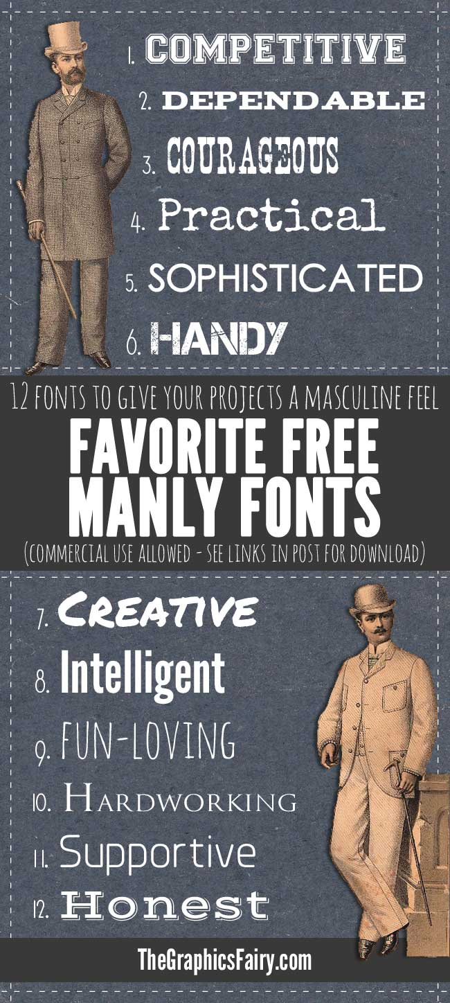 Manly Fonts - Free Commercial Use // The Graphics Fairy