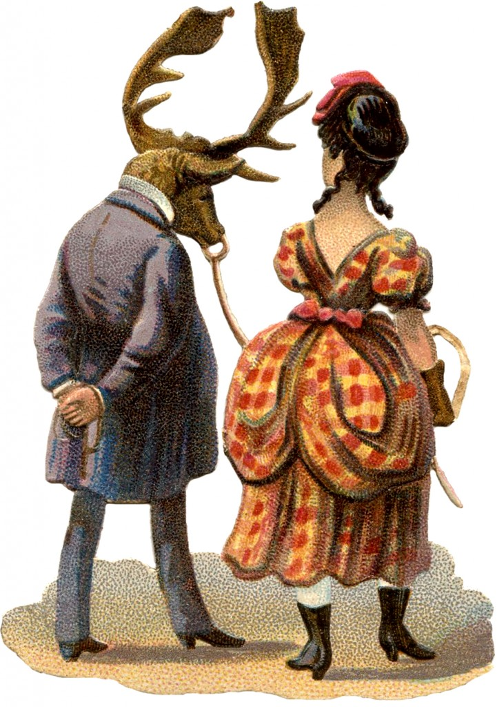 Vintage lady with Elk Man Image