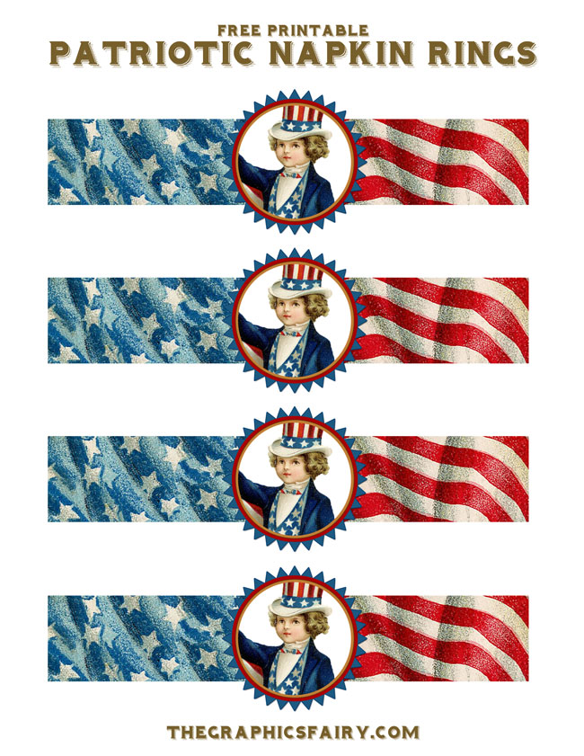 Free Printable Patriotic Napkin Rings // The Graphics Fairy