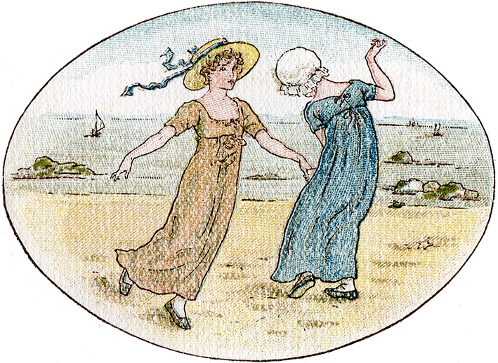 Old Fashioned Children at the Beach Illustration
