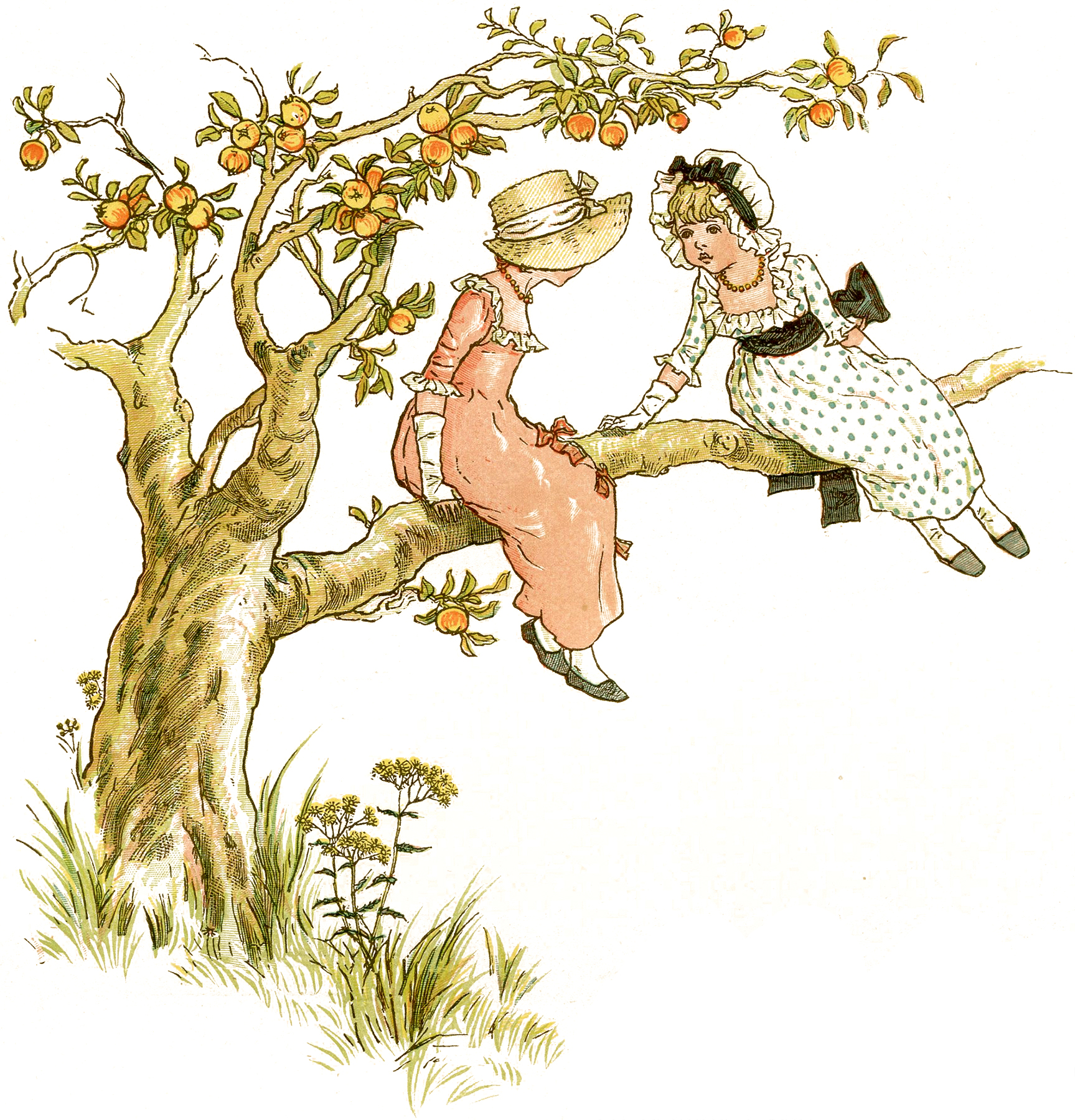 The Graphics Fairy: Sweet Children In Apple Tree Picture