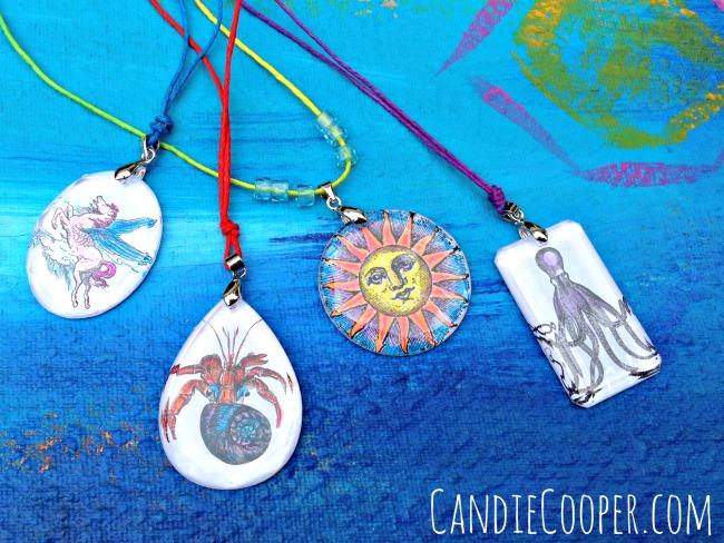 Kids Jewelry Idea Hand Colored Pendants