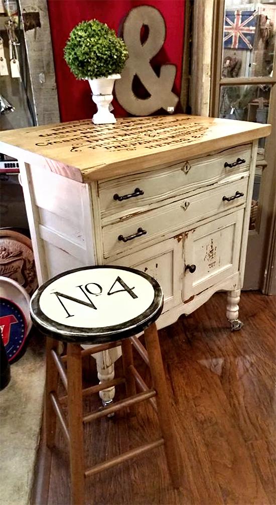 Vintage Painted Dresser Island dpi w