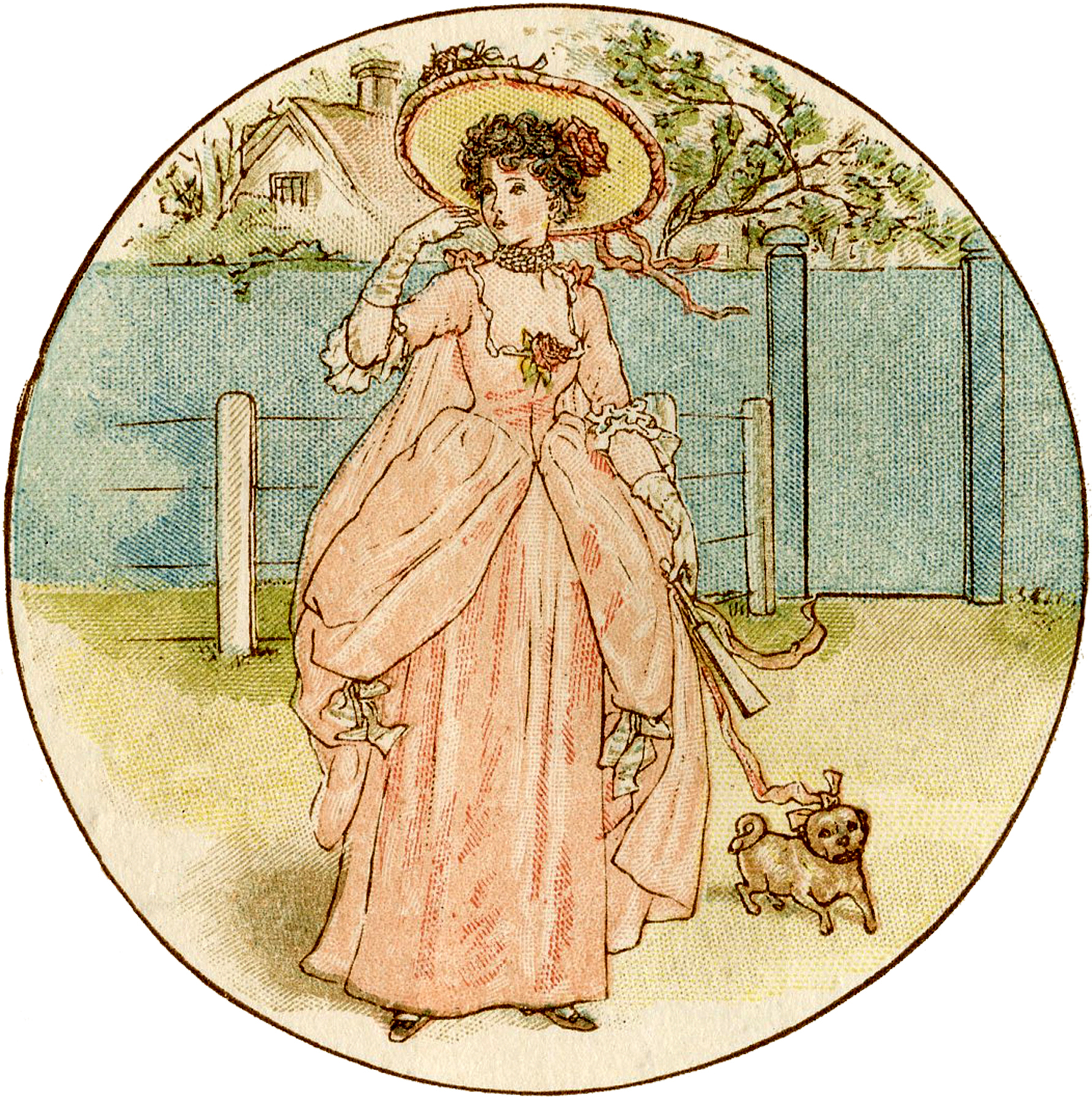 Precious Girl with Dog Picture - Kate Greenaway!