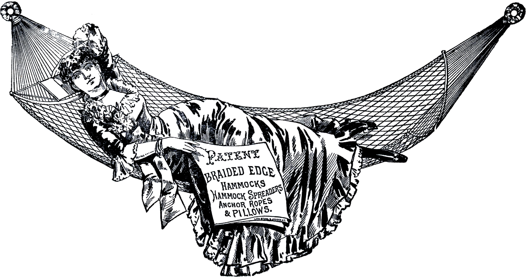 Public Domain Hammock Image - Cute! - The Graphics Fairy