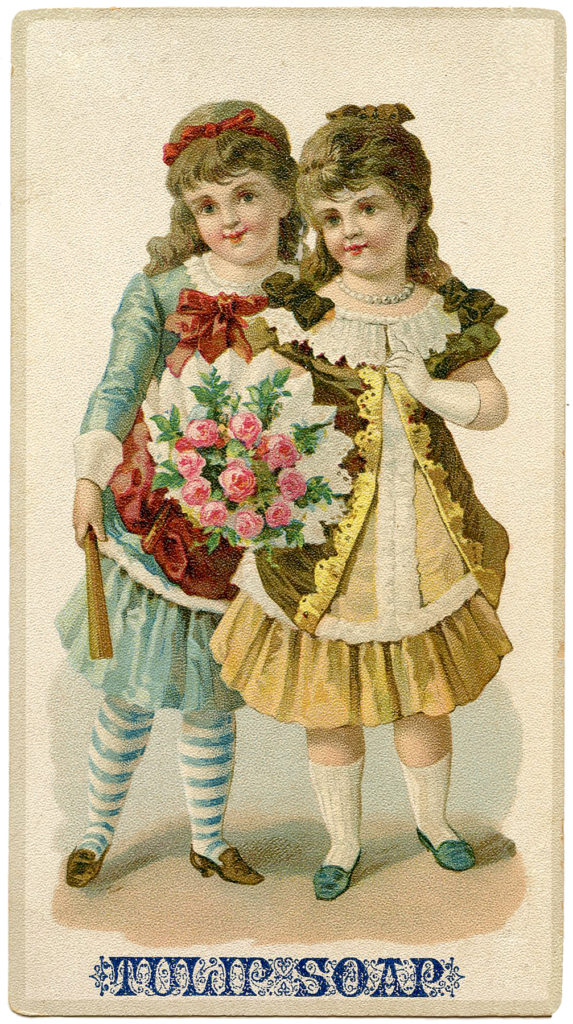 Tulip Soap Trade Card Victorian Girls