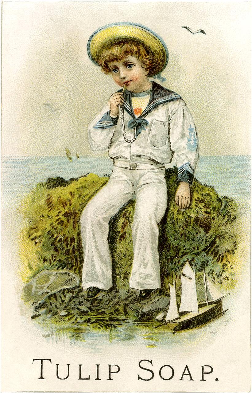 Vintage Sailor Boy Illustration The Graphics Fairy