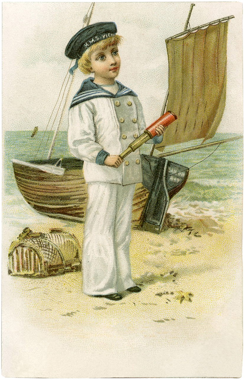 Cutest Vintage Sailor Boy Image! - The Graphics Fairy: http://thegraphicsfairy.com/cutest-vintage-sailor-boy-image/
