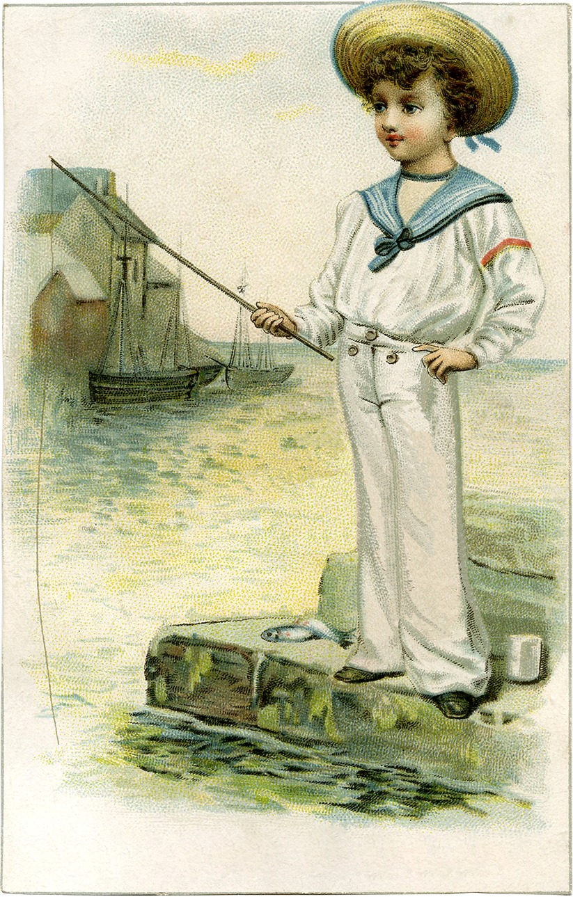 Vintage Sailor Boy Picture - Darling! - The Graphics Fairy