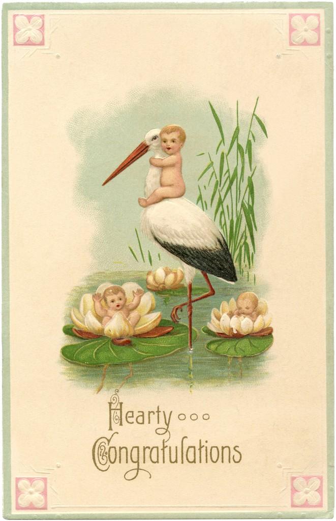 Vintage Stork Card