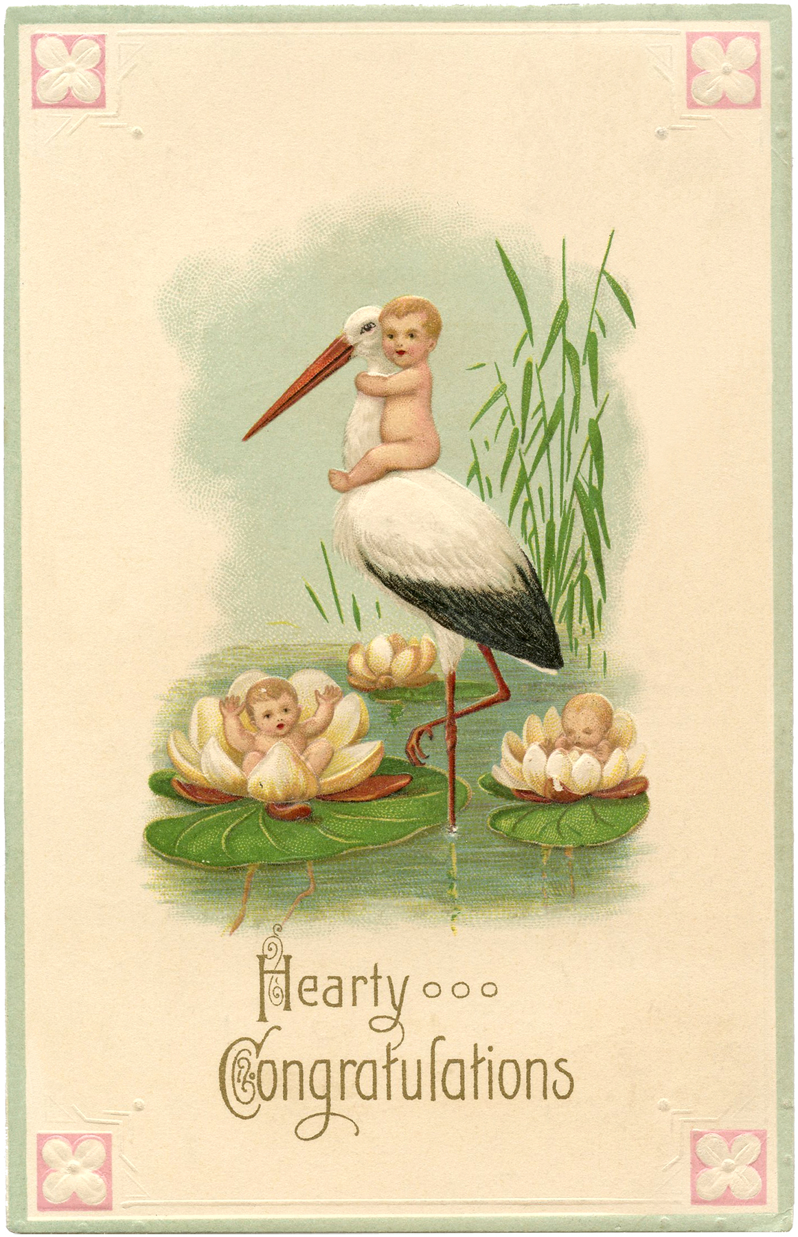 Cute Vintage Stork Card with Babies! - The Graphics Fairy