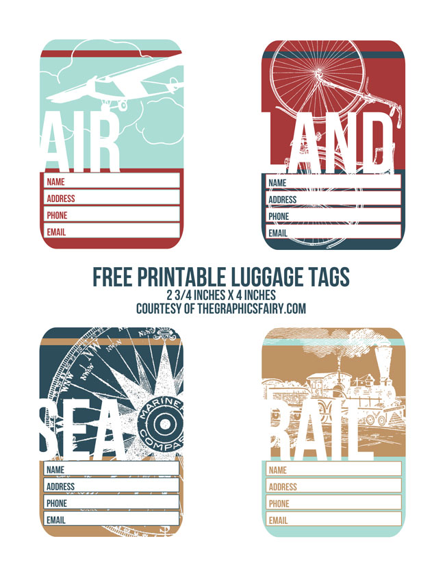 graphic about Luggage Tags Printable titled Cutest Printable Baggage Tags! - The Graphics Fairy