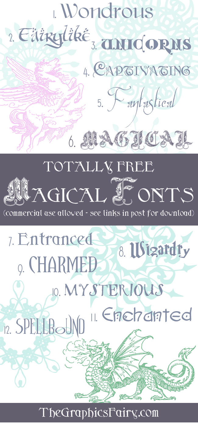 Free Magical Fonts The Graphics Fairy